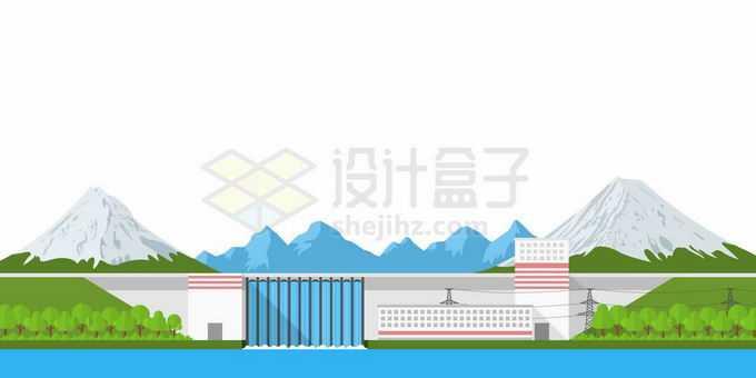 远处的高山和近处的水力发电大坝4370368矢量图片免抠素材免费下载