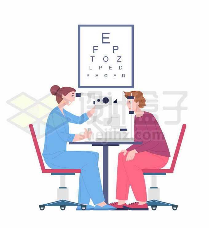 扁平化风格眼科医生在测量视力8798411矢量图片免抠素材免费下载