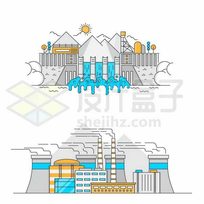 2款MBE风格水力发电站和火力发电站2493687矢量图片免抠素材免费下载