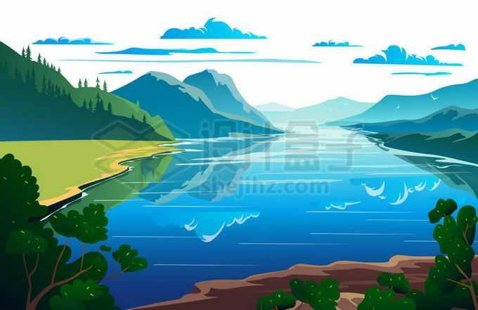 远处的高山和近处的河流湖泊水面美景插画4483768矢量图片免抠素材免费下载