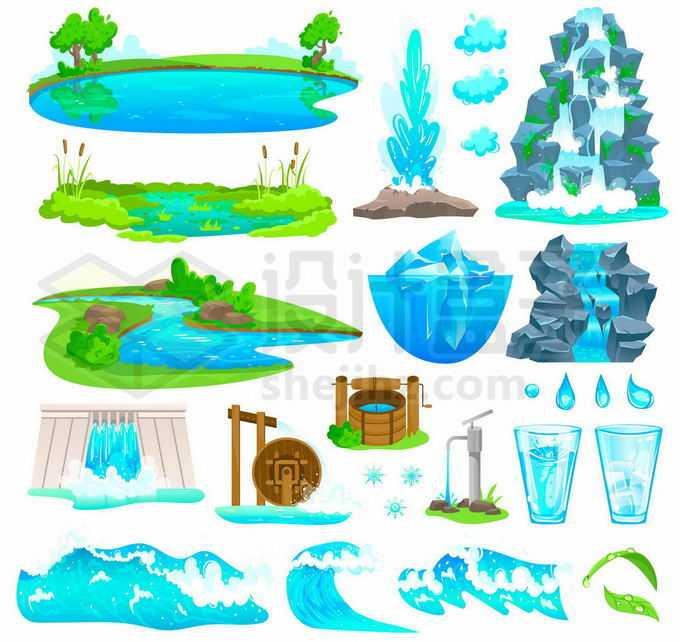 各种蓝色的池塘水塘河流喷泉瀑布冰山海浪水车水井一滴水等保护水资源插画1665066矢量图片免抠素材免费下载