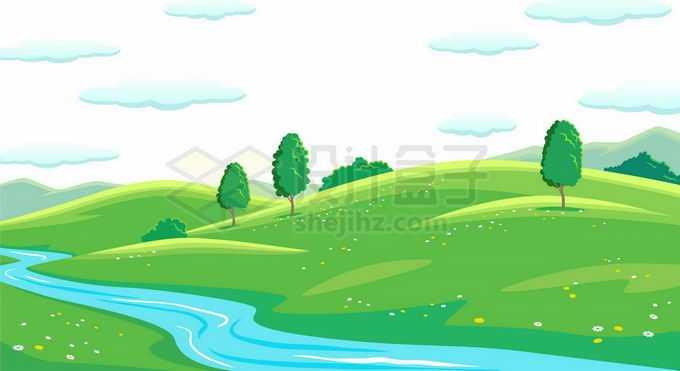唯美风格青青大草原小山坡和河流风景3449655矢量图片免抠素材免费下载