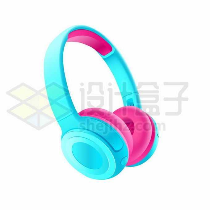 一款亮蓝色和粉红色的无线耳机头戴式耳机7534174矢量图片免抠素材免费下载