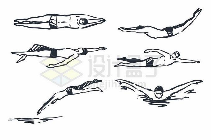 跳水自由泳仰泳蛙泳等游泳运动员手绘线条插画3325694矢量图片免抠素材免费下载