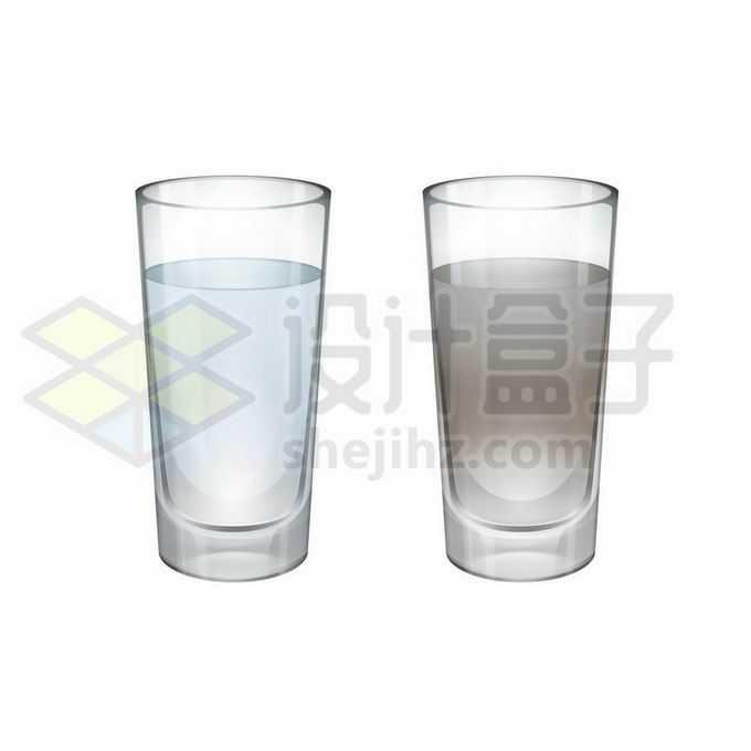 一杯干净的纯净水和脏的污水1517563矢量图片免抠素材免费下载