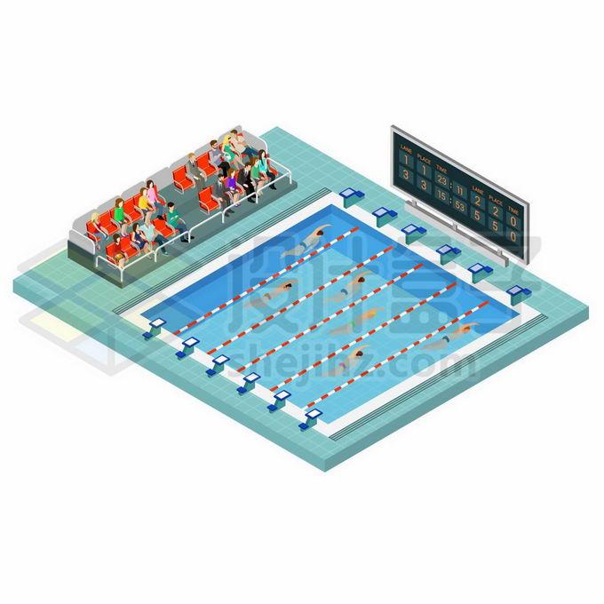 2.5D风格奥运会游泳比赛的游泳池5260337矢量图片免抠素材免费下载