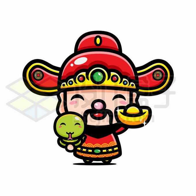 蛇年捧着金元宝的可爱卡通财神爷1618814矢量图片免抠素材免费下载