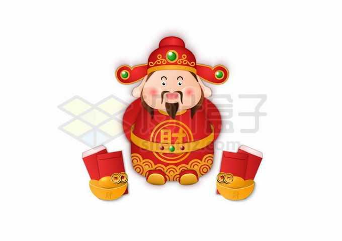 可爱的卡通财神爷和金元宝红包9504383矢量图片免抠素材免费下载
