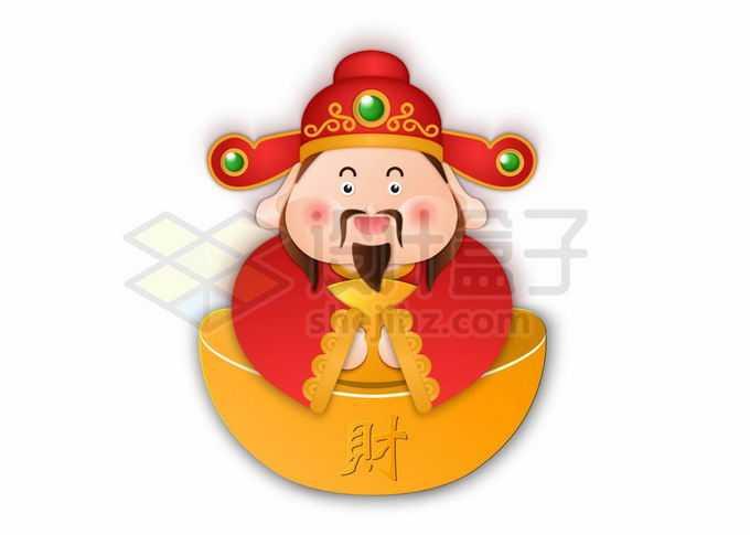 可爱的卡通财神爷和巨大的金元宝1018839矢量图片免抠素材免费下载