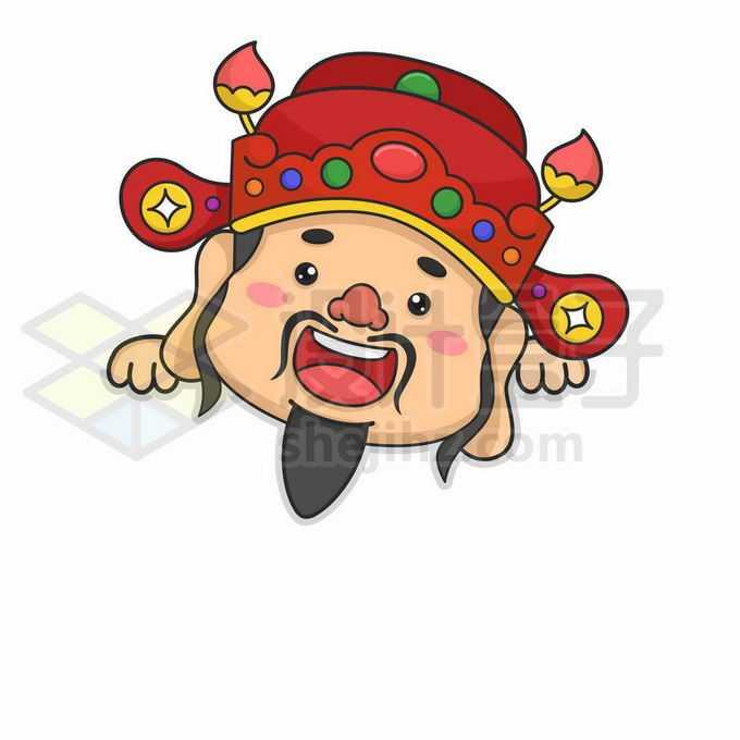 趴着的可爱卡通财神爷头像7556359矢量图片免抠素材免费下载