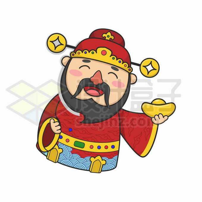 卡通财神爷拿着一块金元宝3130093矢量图片免抠素材免费下载