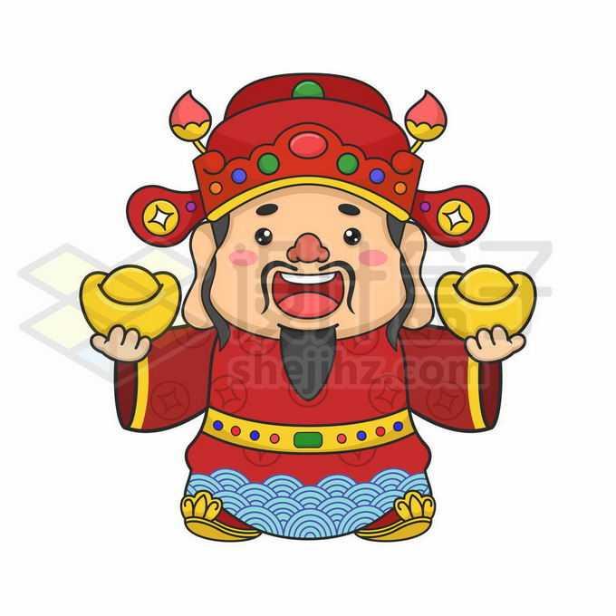 卡通财神爷拿着两块金元宝9829666矢量图片免抠素材免费下载