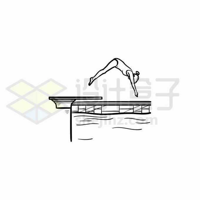 正在跳水的游泳运动员手绘线条插画3911752矢量图片免抠素材免费下载