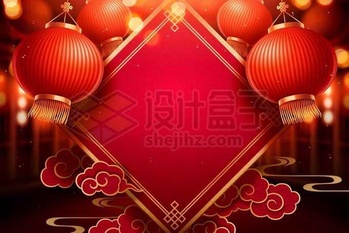 大红灯笼高高挂祥云贴纸新年春节背景7602579矢量图片免抠素材免费下载