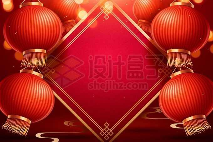 大红灯笼高高挂菱形贴纸新年春节背景3931938矢量图片免抠素材免费下载