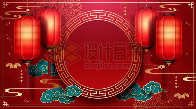 深红色的大红灯笼祥云和圆形新年春节背景6481611矢量图片免抠素材免费下载