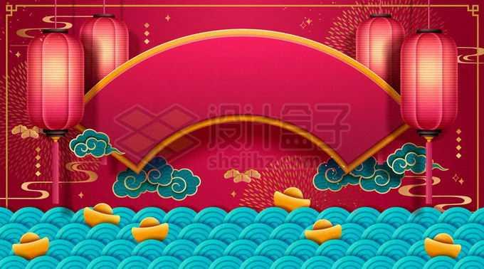 深红色的大红灯笼蓝色波浪图案和扇形新年春节背景3852866矢量图片免抠素材免费下载