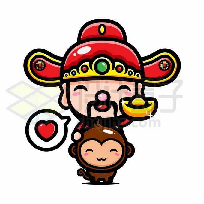 猴年捧着金元宝的可爱卡通财神爷7330609矢量图片免抠素材免费下载