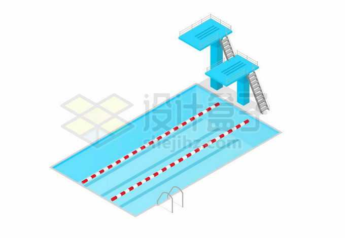 蓝色游泳池和高台跳水奥运会场地7720348矢量图片免抠素材免费下载