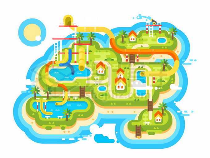 扁平化风格水上游乐园平面地图6124487矢量图片免抠素材免费下载