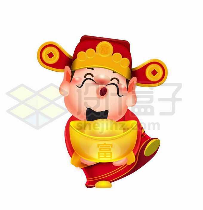 超可爱的卡通财神爷捧着金元宝跳舞4674050矢量图片免抠素材免费下载
