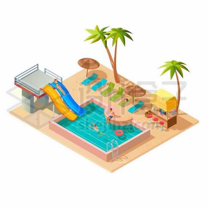 2.5D风格在游泳池中玩耍的年轻人和水上滑滑梯5280768矢量图片免抠素材免费下载