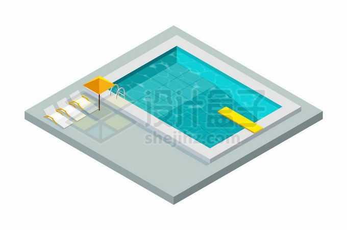2.5D风格装满蓝色池水的游泳池6178458矢量图片免抠素材免费下载