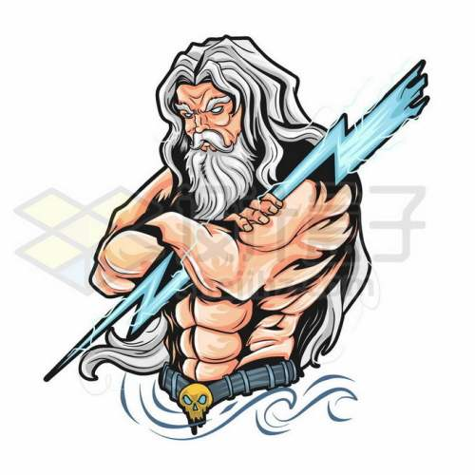 一手抓着蓝色闪电的宙斯希腊神话人物9504911矢量图片免抠素材免费下载