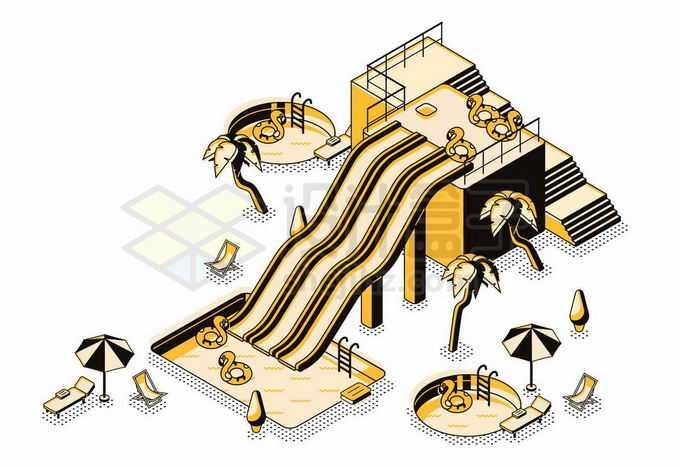 2.5D风格游泳池和水上滑滑梯插画8477732矢量图片免抠素材免费下载