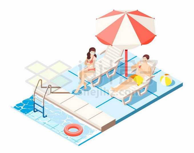 2.5D风格游泳池旁边躺椅上的比基尼美女2765120矢量图片免抠素材免费下载