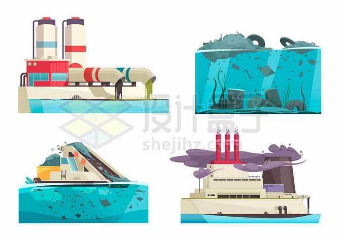 工厂排污管道污染河流海洋水体环境污染3370623矢量图片免抠素材免费下载