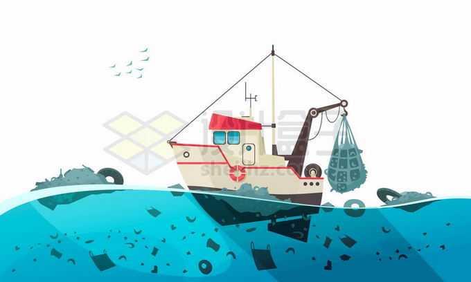 海洋上漂浮着大量的垃圾渔船正在打捞海洋垃圾污染6087112矢量图片免抠素材免费下载