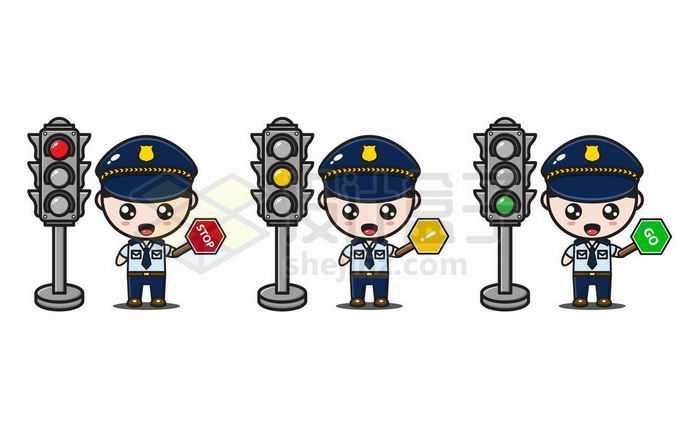 红绿灯和卡通交警正在指挥交通6739821矢量图片免抠素材免费下载