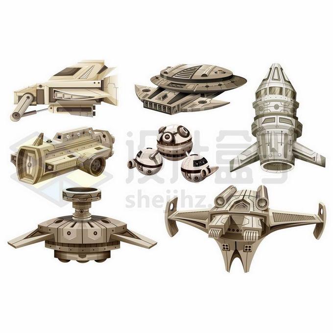 7款充满科幻风格的未来太空战舰飞行器宇宙飞船7674684矢量图片免抠素材免费下载