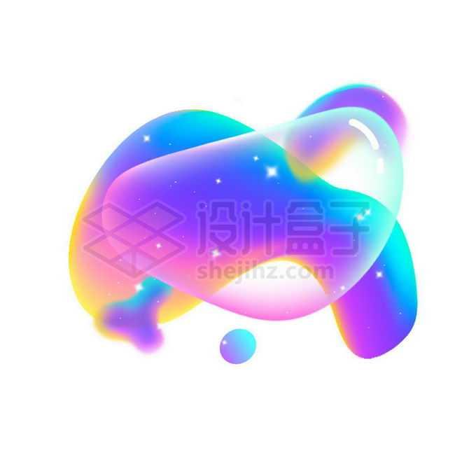 多彩不规则形状渐变色气泡免抠图片素材