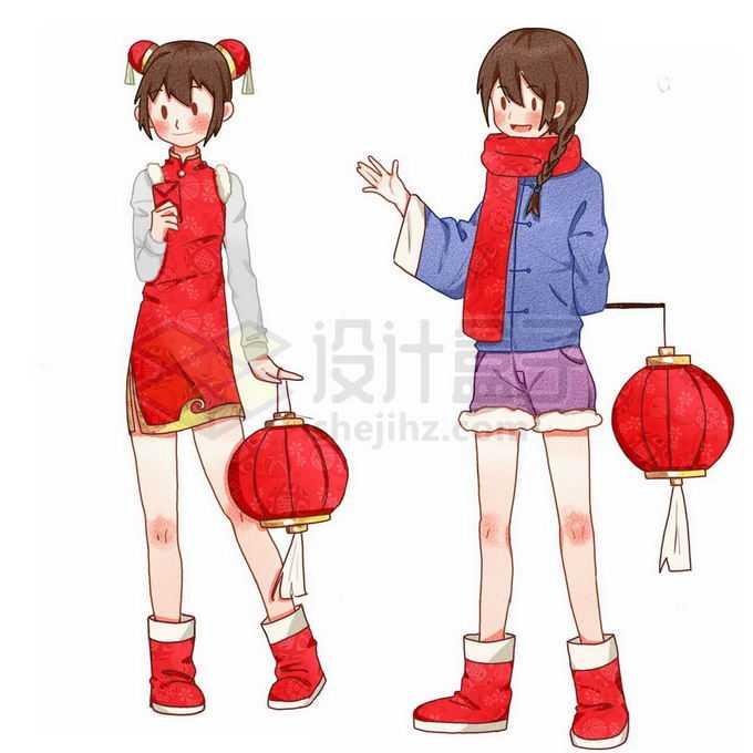 卡通中国小女孩打着红灯笼新年春节免抠图片素材