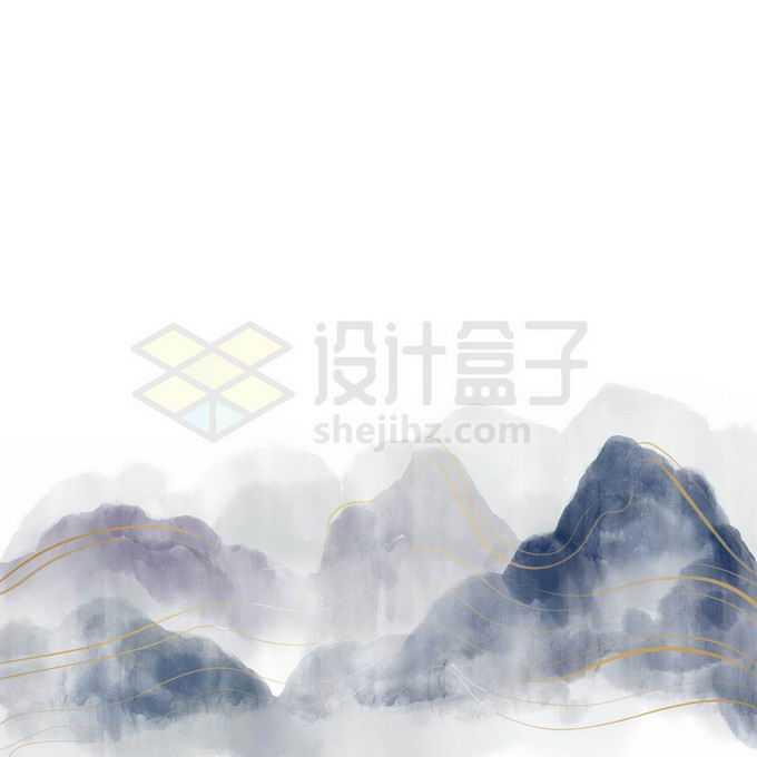 金丝线风格中国风山水画免抠图片素材