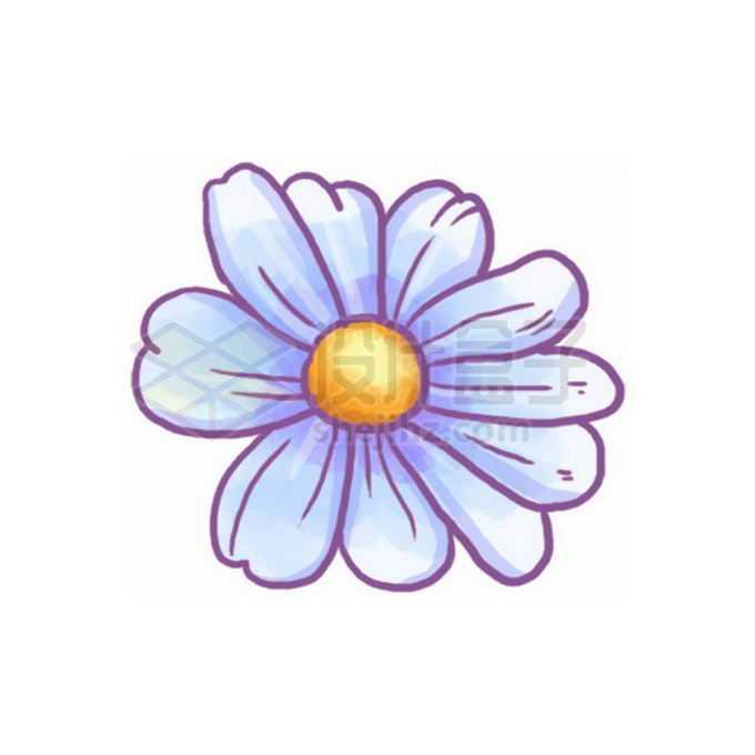 淡紫色的卡通菊花雏菊野花免抠图片素材