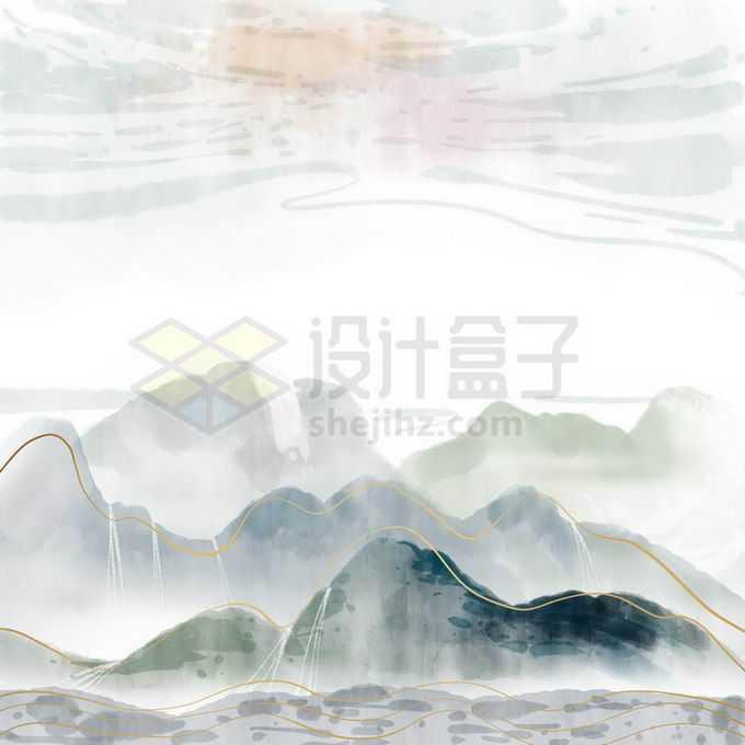 金丝线风格国潮中国风山水画免抠图片素材