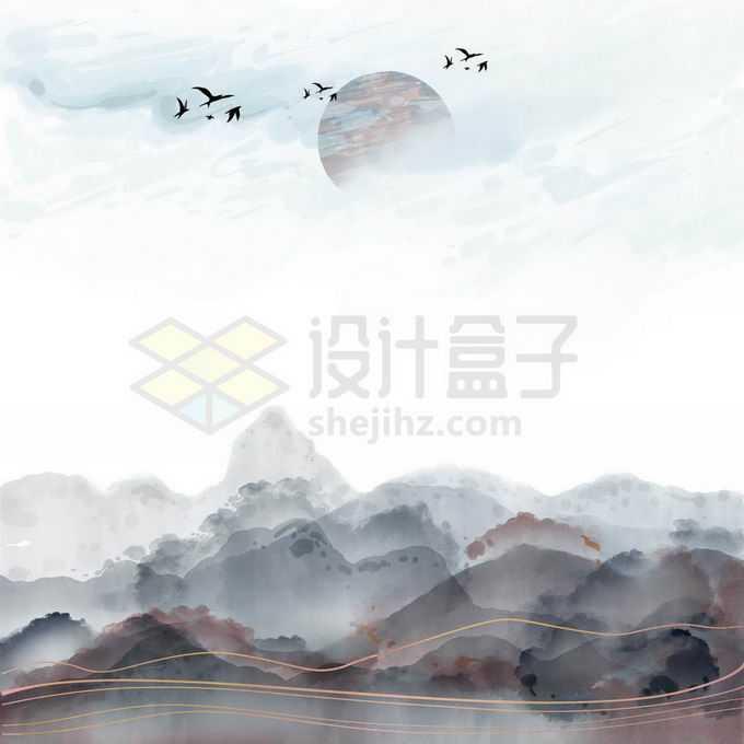 金丝线风格国潮中国传统山水画免抠图片素材