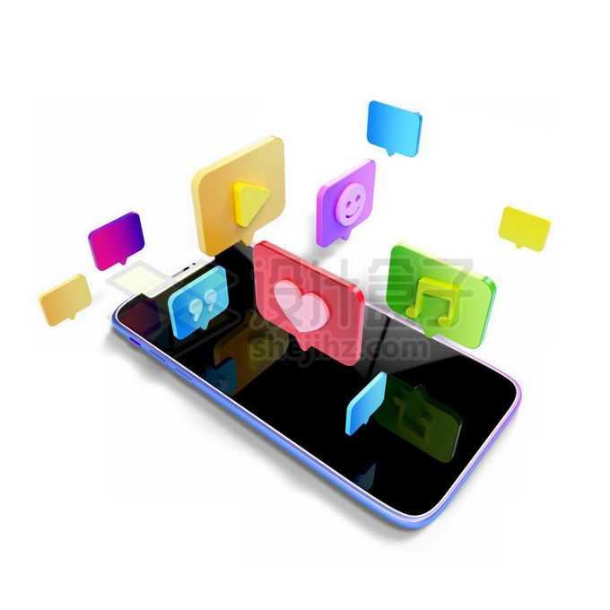 3D手机上空漂浮的社交媒体图标免抠图片素材