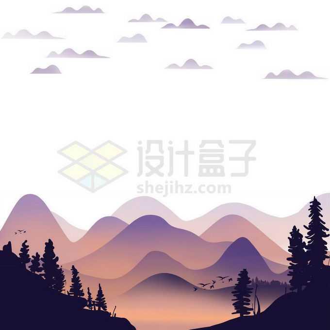近处的森林剪影和远处薄雾中的远山风景画免抠图片素材