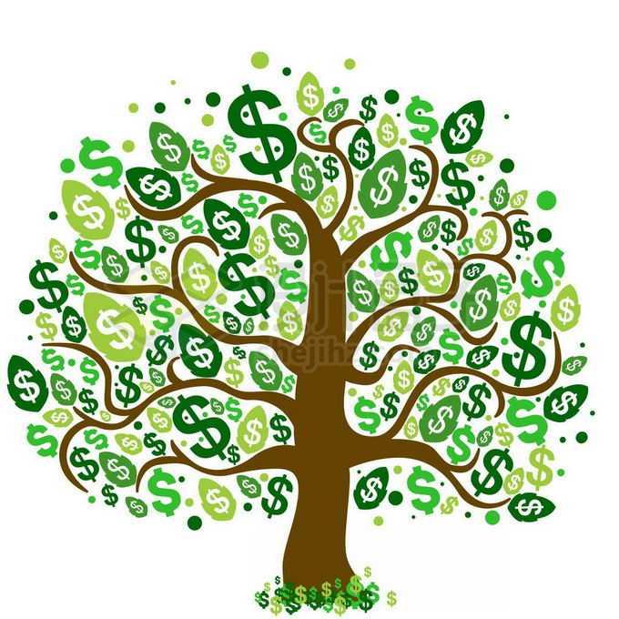 一棵长满美元标志树叶的金钱树摇钱树免抠图片素材