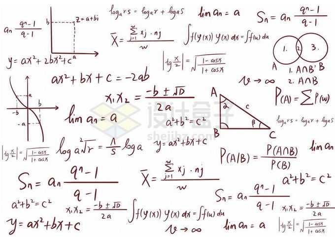 手写数学方程式几何公式免抠图片素材