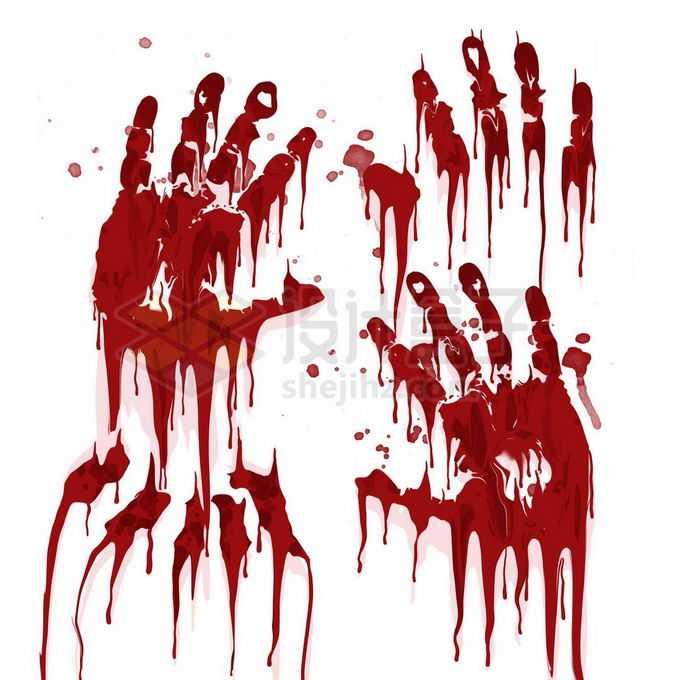 恐怖鲜血手印掌印效果免抠图片素材
