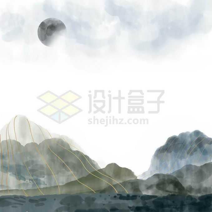 金丝线风格国潮中国传统水墨画山水画免抠图片素材