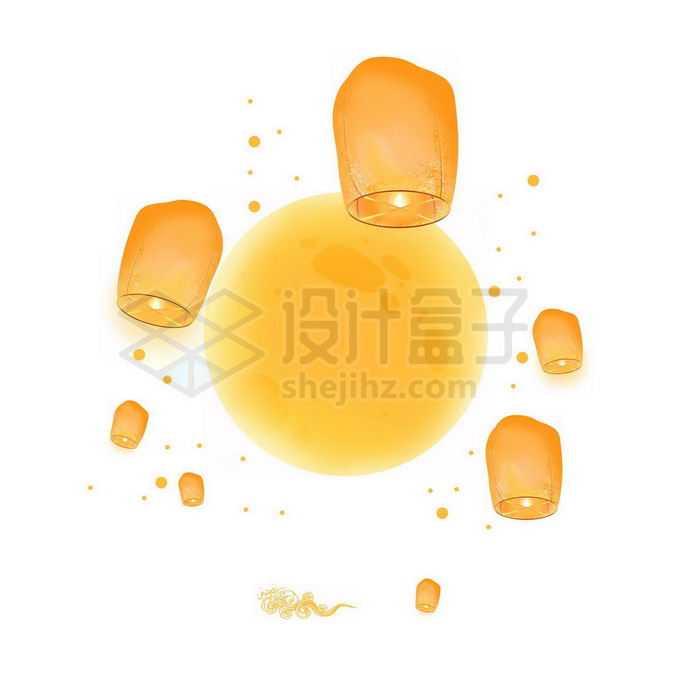 中秋节黄色的月亮和孔明灯免抠图片素材