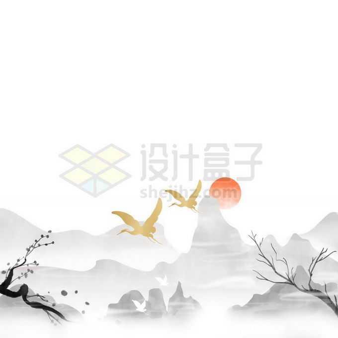 中国风传统水墨画风景图和太阳免抠图片素材