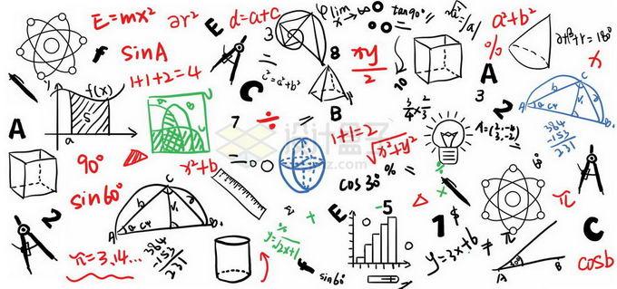 潦草的几何公式数学方程式免抠图片素材