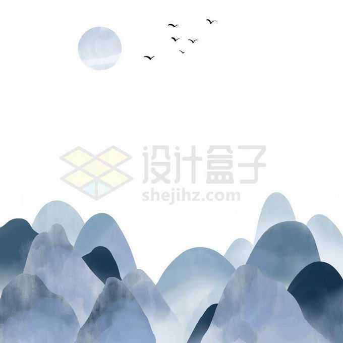 简约风格水墨画中国山水画免抠图片素材